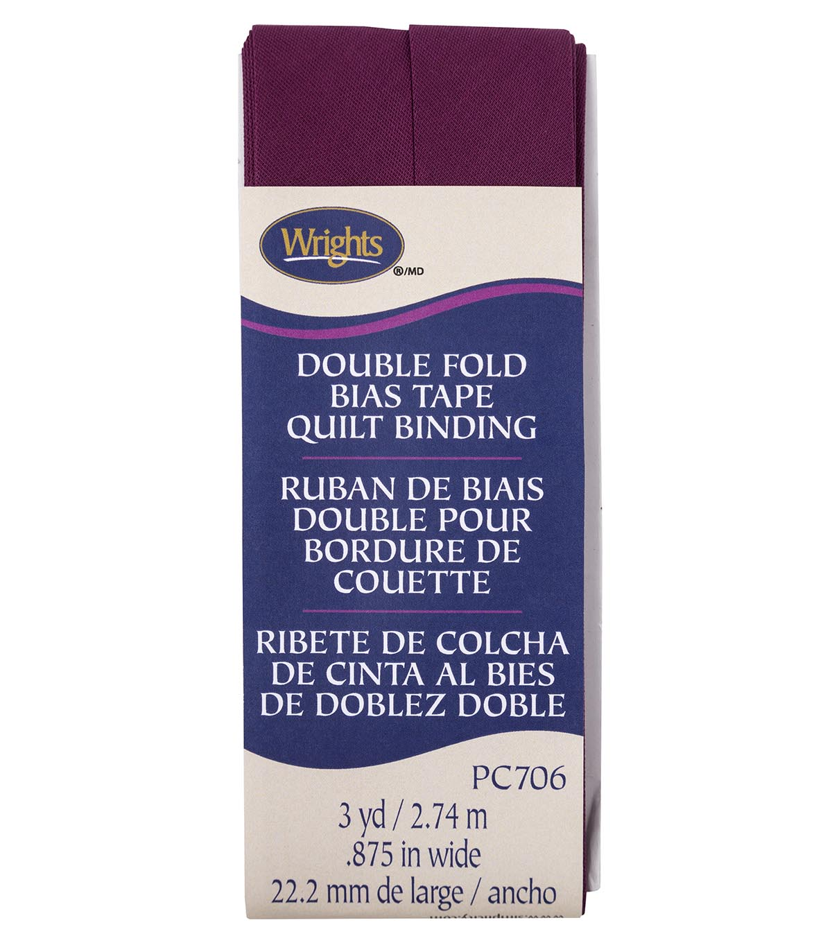 Wrights Double Fold Quilt Binding Bias Tape 7/8\u0027\u0027x3 yds-Geranium