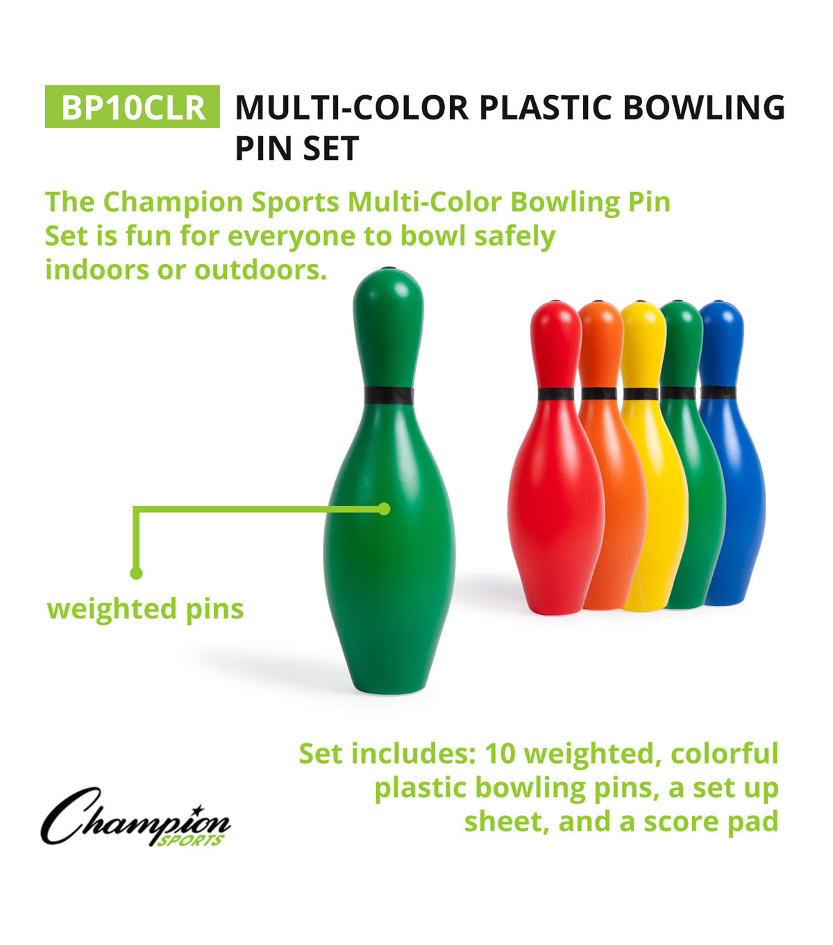 Champion Sports Multicolor Bowling Pin Set