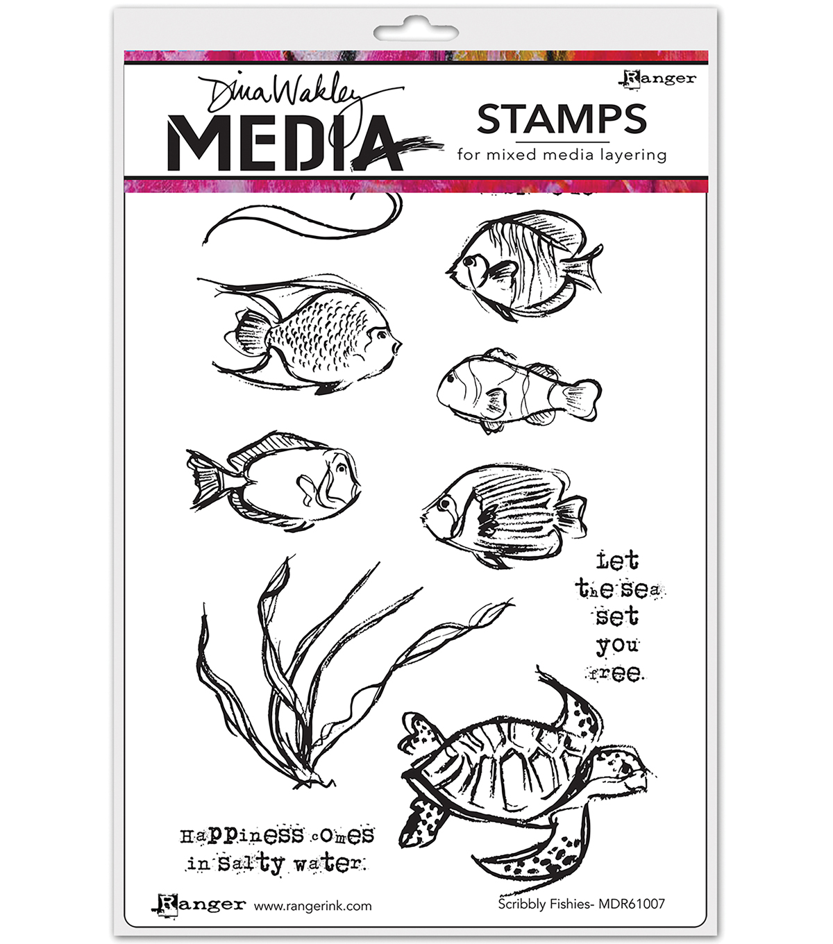 Ranger Dina Wakley Media Cling Stamps-Scribbly Fishes