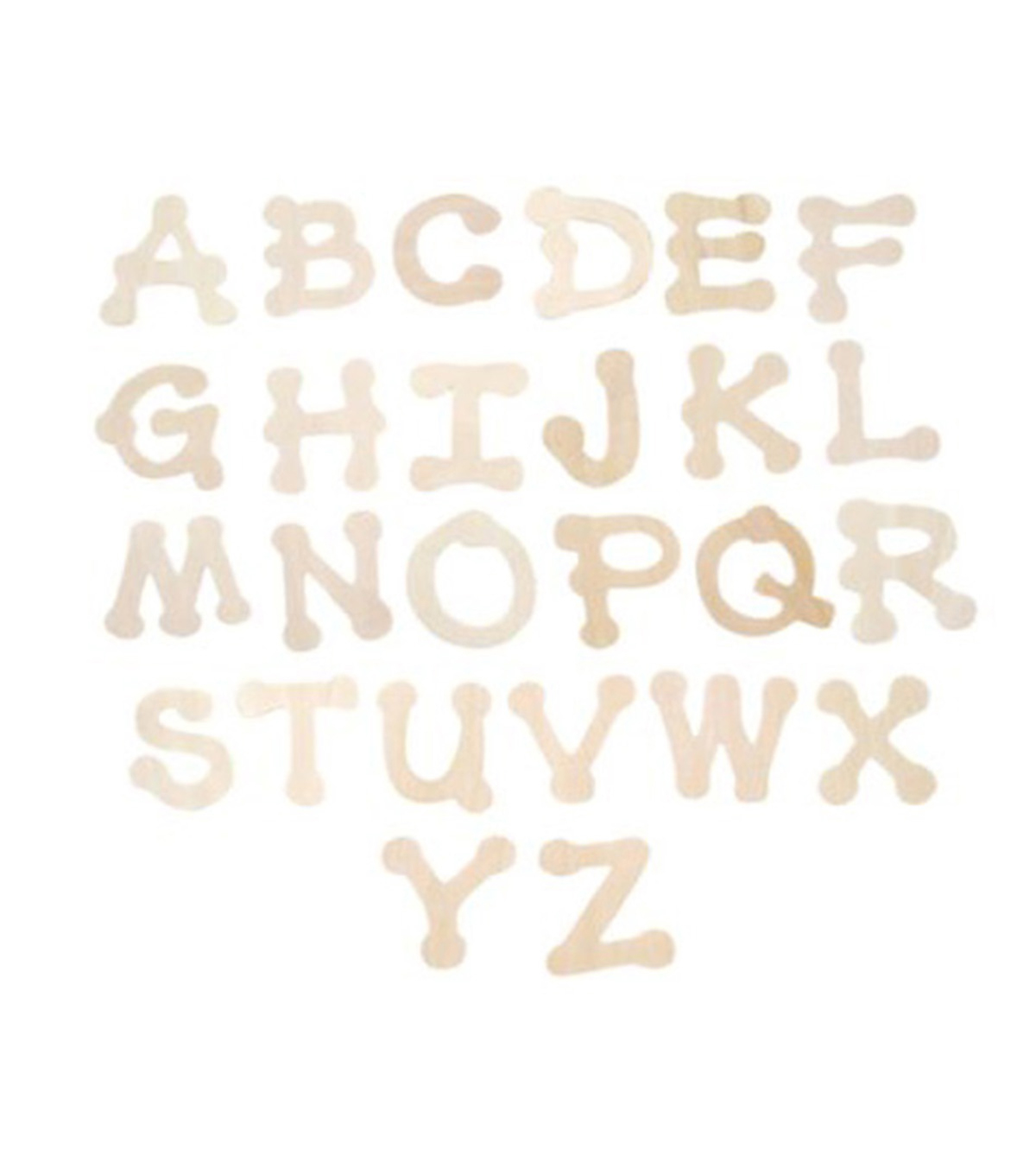 Fab Lab Craft 36 pk Dot Font Uppercase Alphabet Letters-Natural