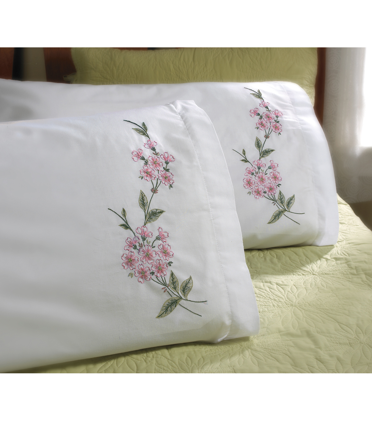 Stamped Embroidery Pillowcase Pair 20\u0022X30\u0022-Dogwood Branch