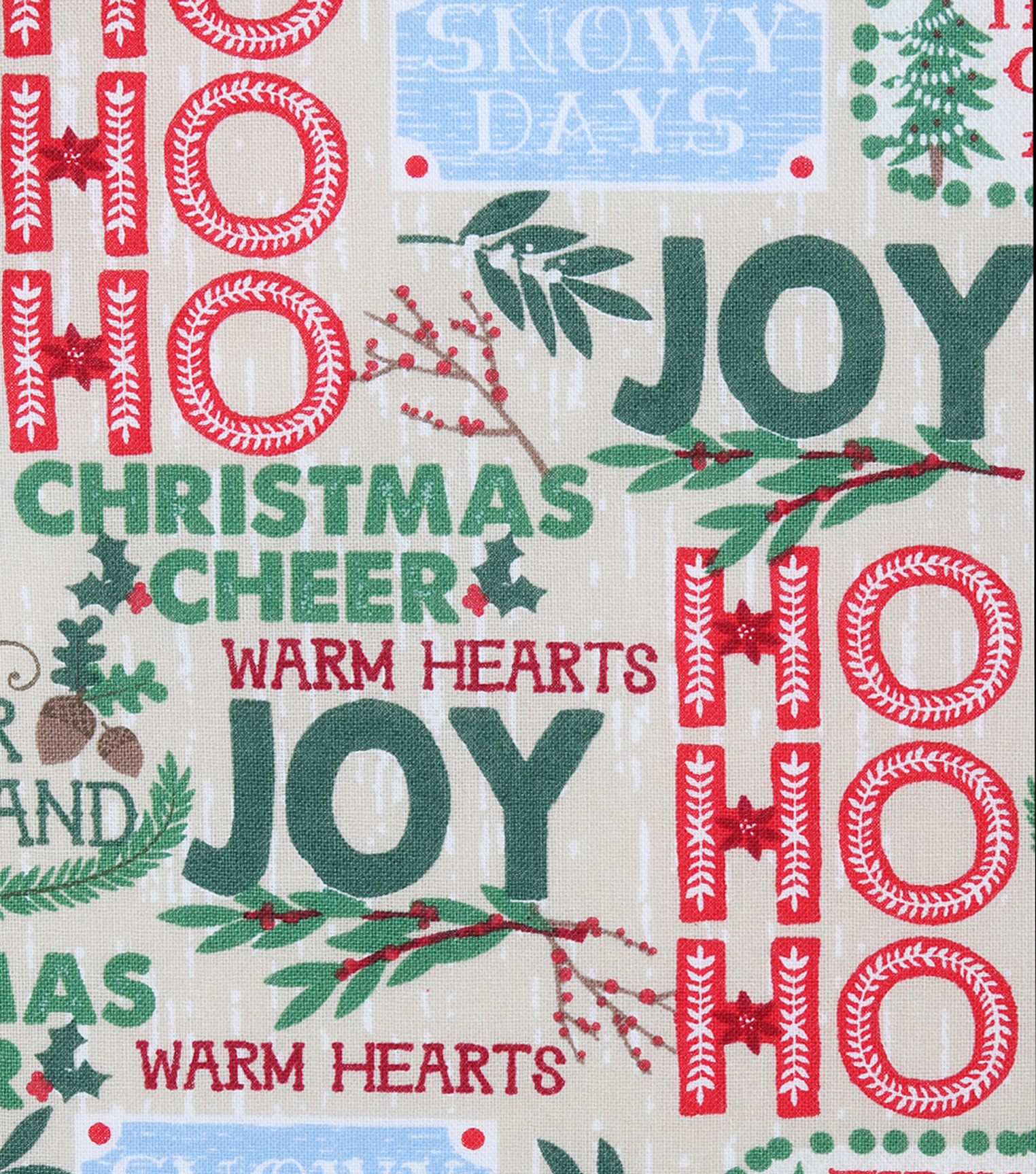 Christmas Cotton Fabric 43\u0022-Woodgrain Holiday Words