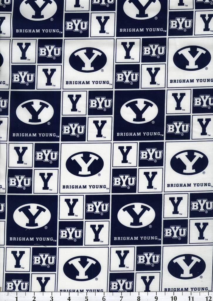 Brigham Young University Cougars Cotton Fabric 43\u0022-Block