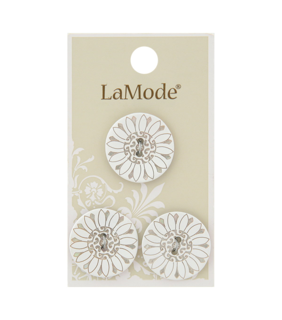 La Mode 3 pk 22 mm Agoya Shell 2 Hole Buttons-Flower Design on White