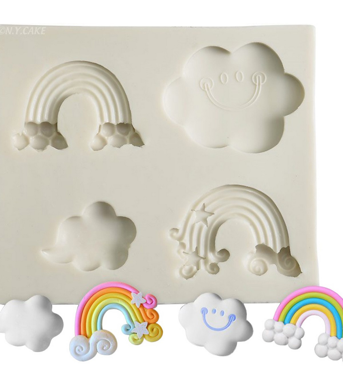 NY Cake White Silicone Mold-Clouds & Rainbow