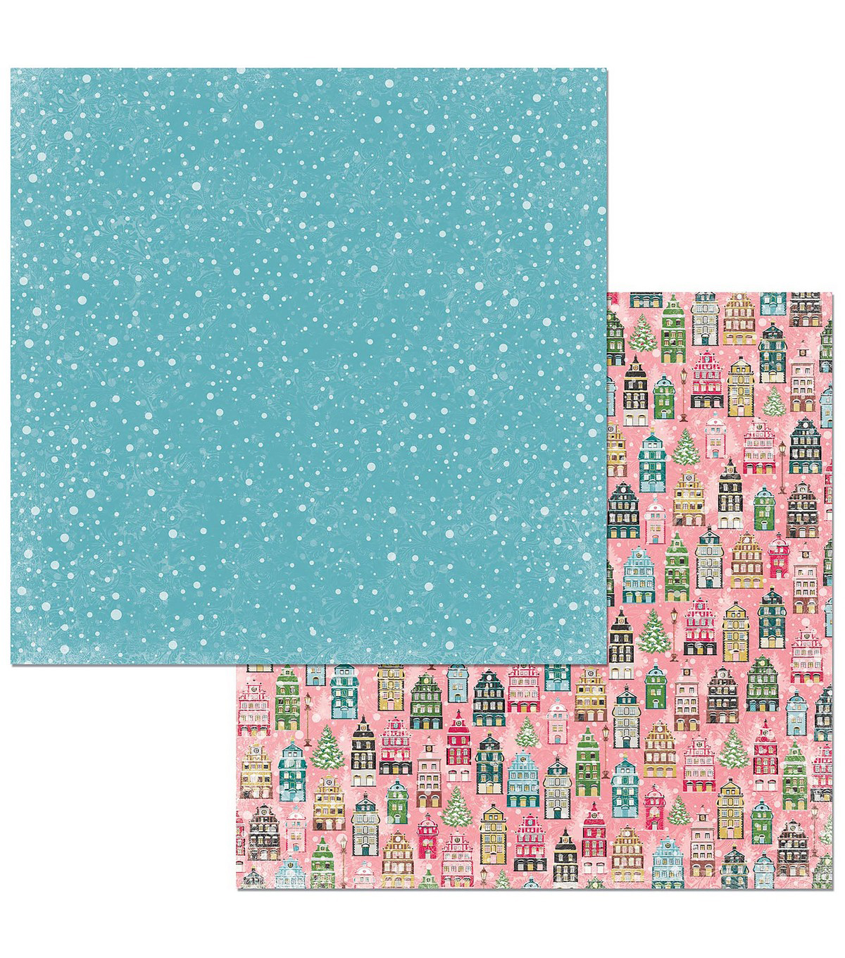 Christmas In The Village Double-Sided Cardstock 12\u0022X12\u0022-Houses