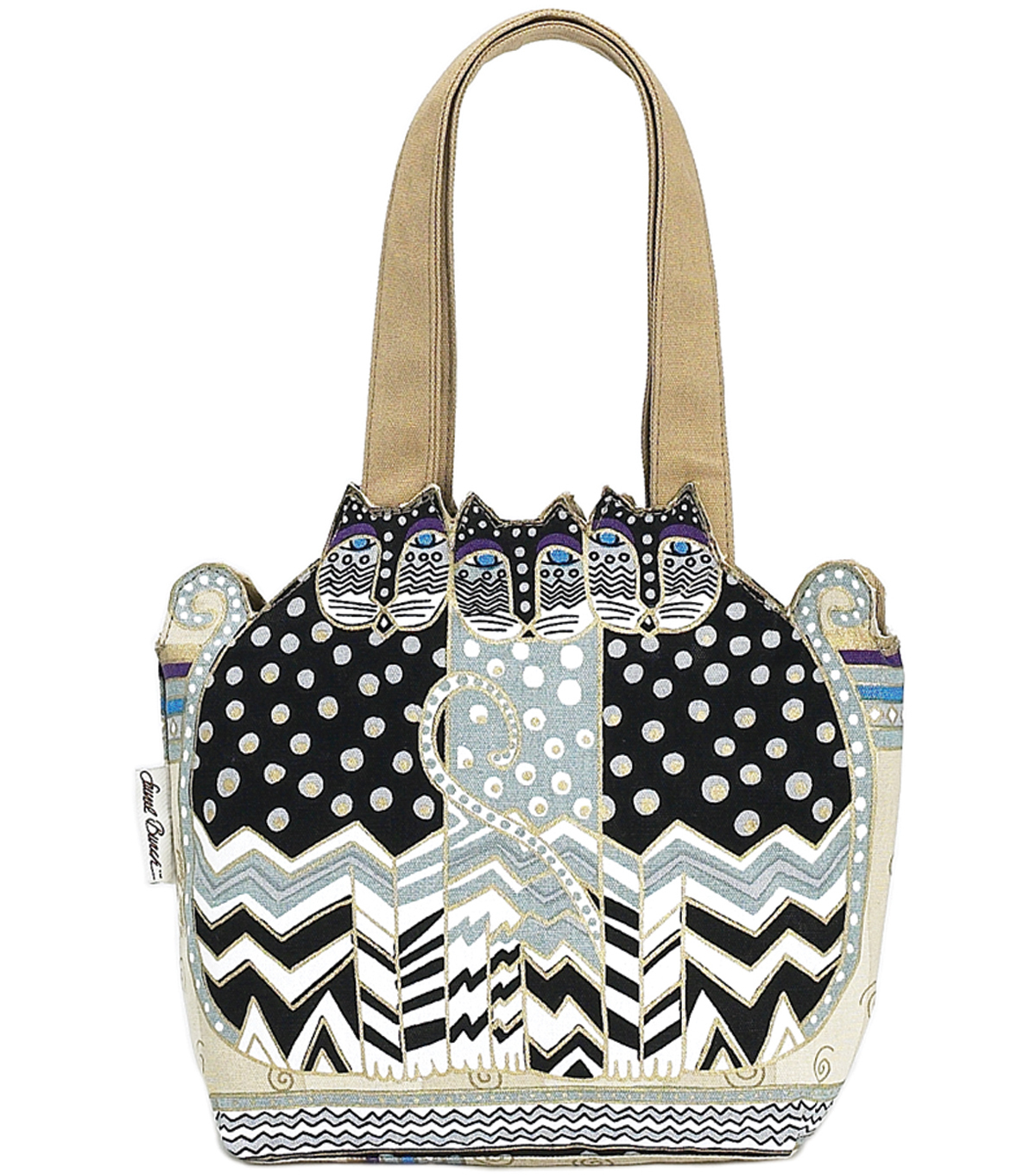 Laurel Burch Medium Tote 12\u0022x3.5\u0022x8.5\u0022-Tres Gatos: Black/White/Gray