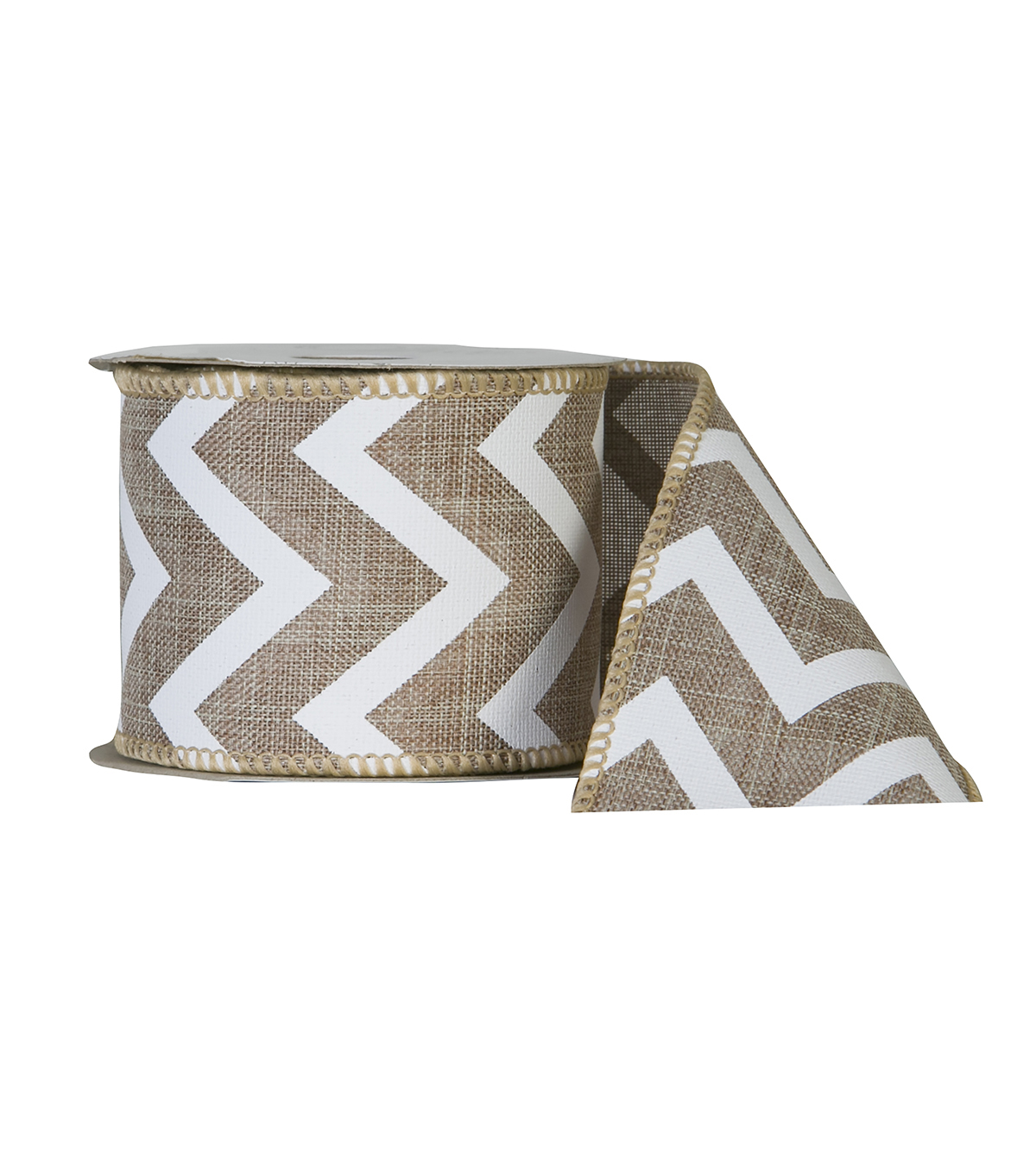 Offray 2.25\u0022x9\u0027 Linen Chevron Wired Edge Ribbon-Natural