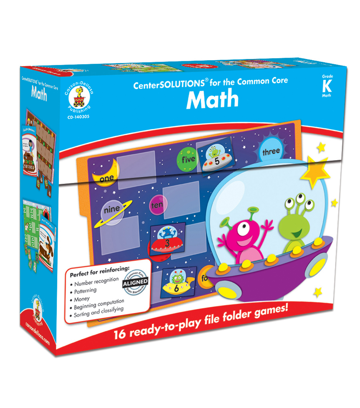 Math File Folder Game, Grade Kindergarten, 16 Games, 20 Sheets of Cards