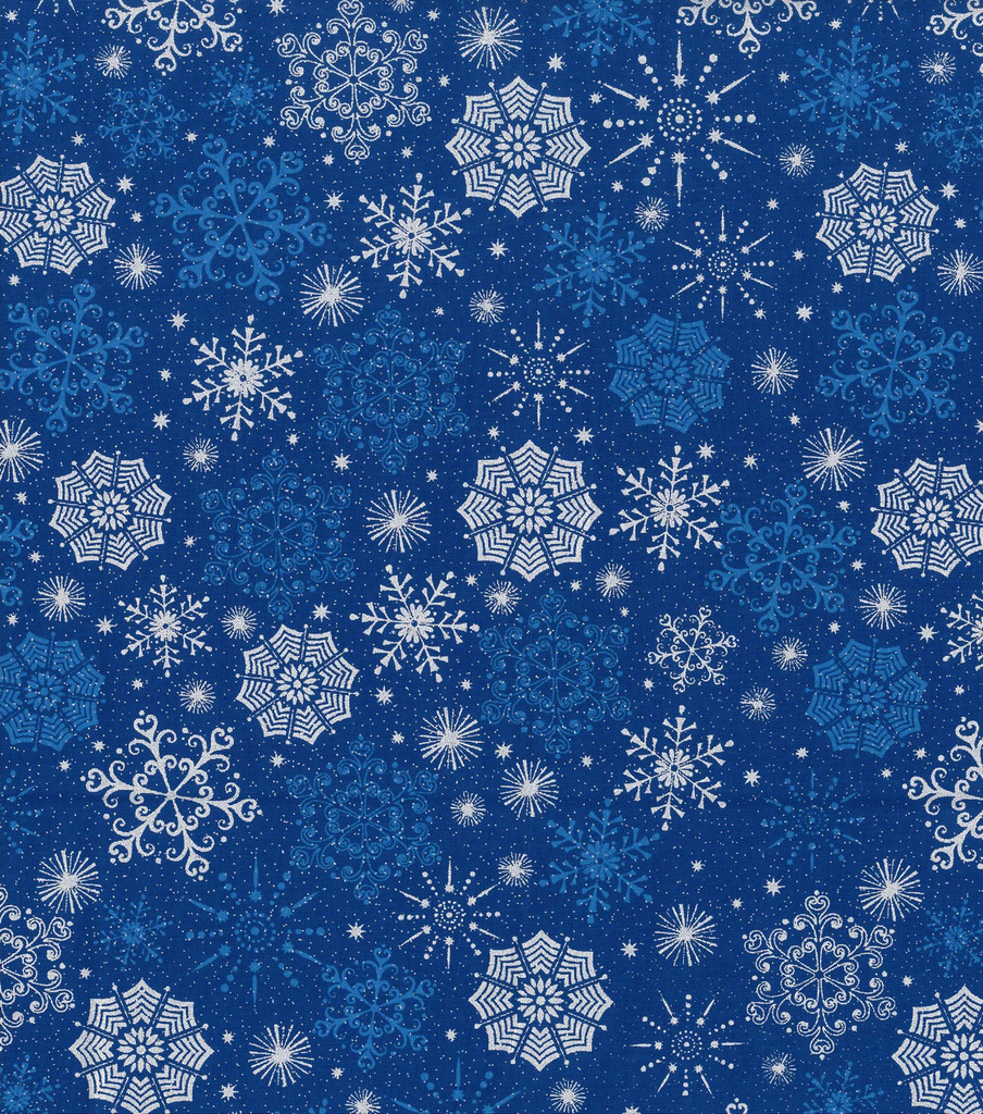 Holiday Cotton Fabric -Metallics Snowflake