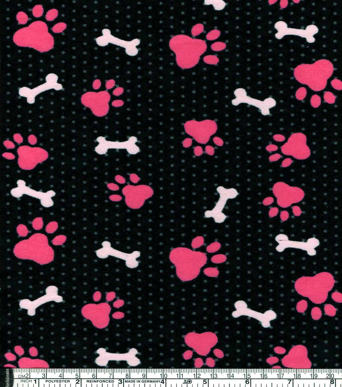 Snuggle Flannel Fabric -Pink Paw Print And Bone