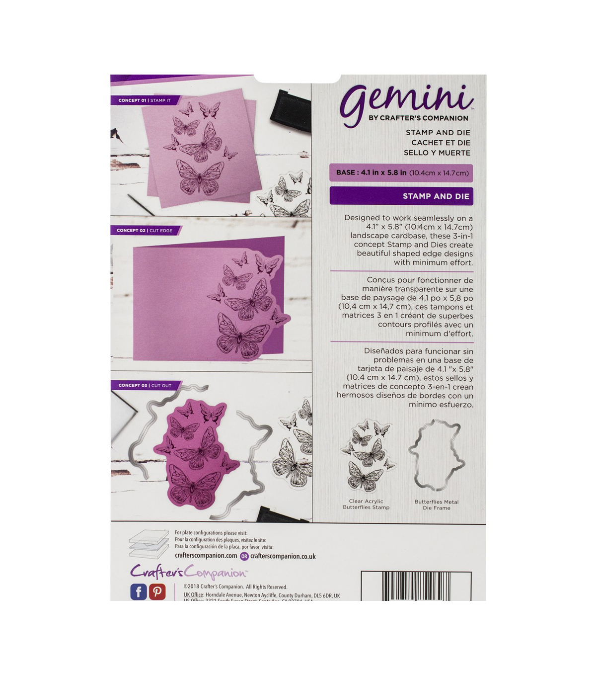 Crafter\u0027s Companion Gemini Clear Stamps & Dies-Butterflies