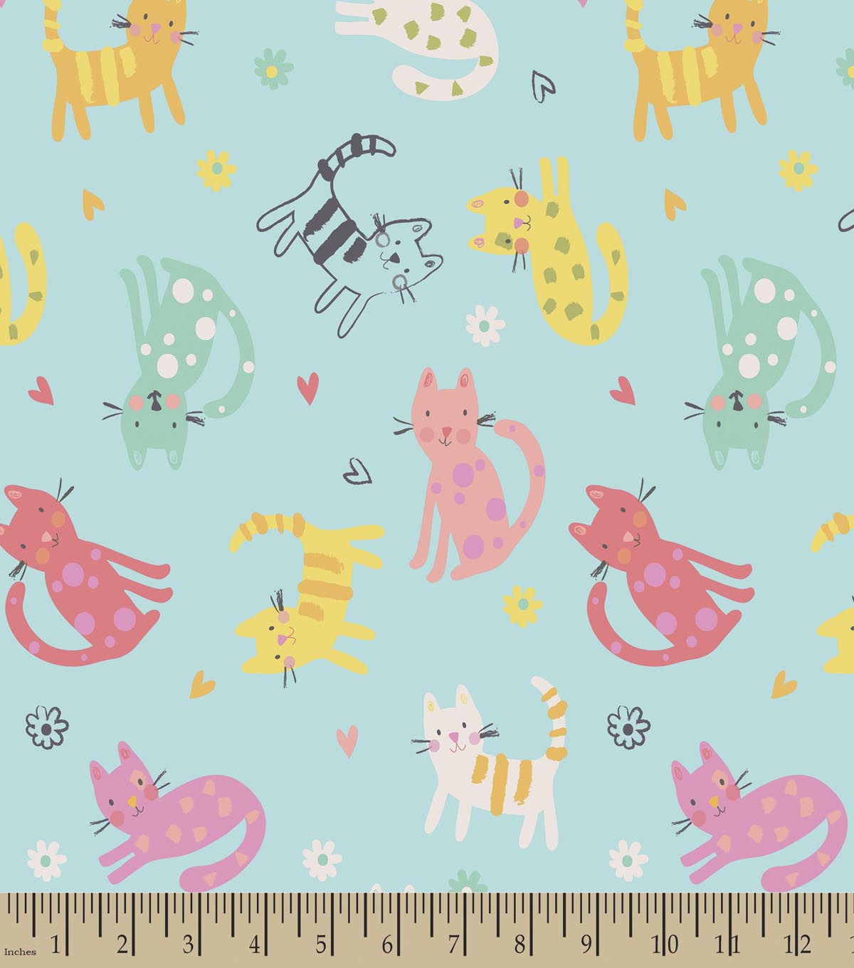 Colorful Cats Blue Print Fabric