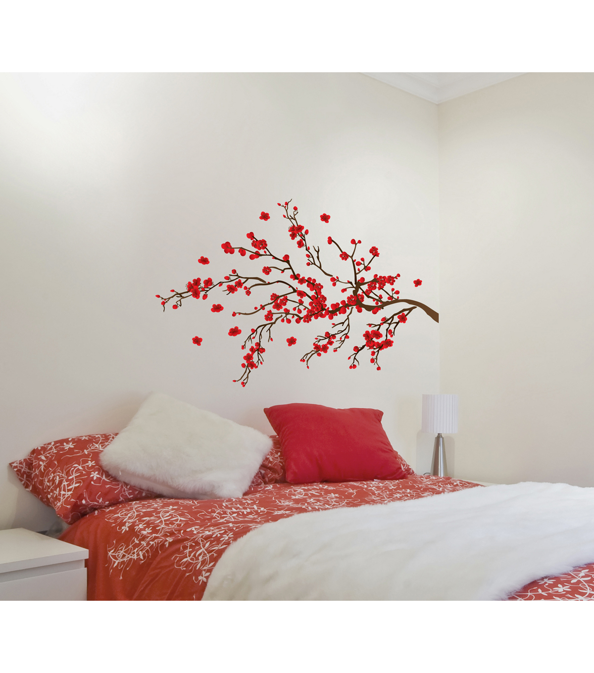 Home Decor Red Ramage Wall Decal, 14 Piece Set