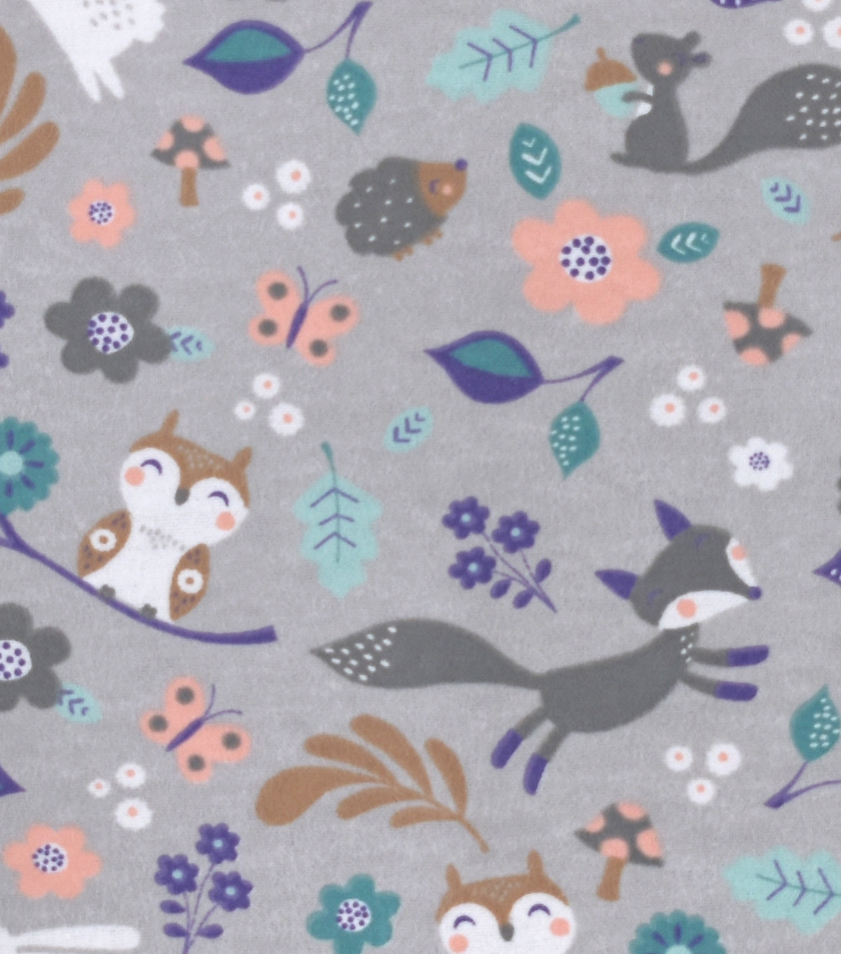 Snuggle Flannel Fabric -Cute Woodland Animals