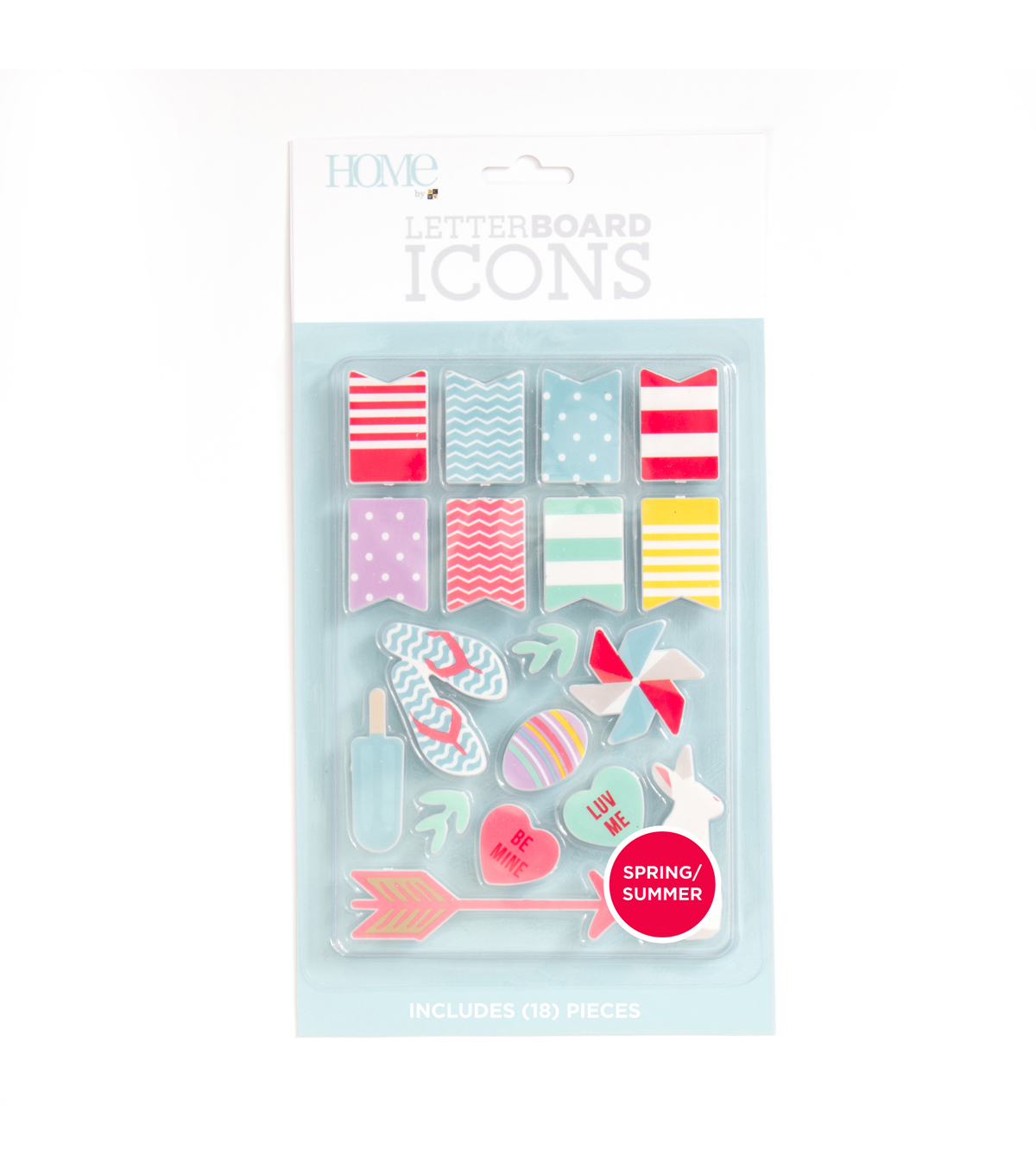 DCWV Home 18 Pack Letter Board Icons-Spring & Summer