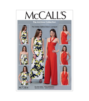 McCall\u0027s Pattern M7384 Misses\u0027 Endless Tie Options Knit Dress & Jumpsuit