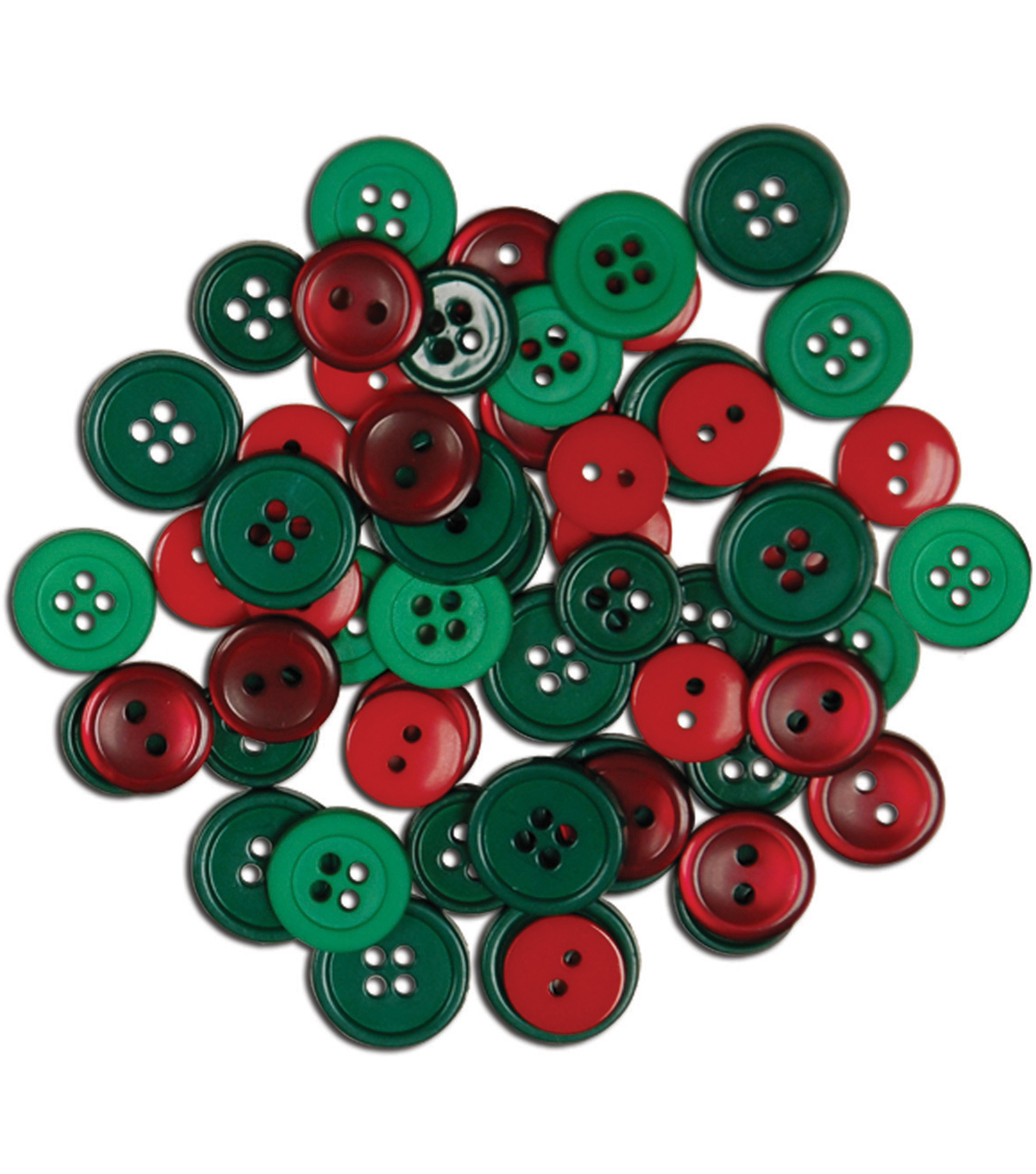 Favorite Findings Holiday Buttons-Red/Green 130/Pkg