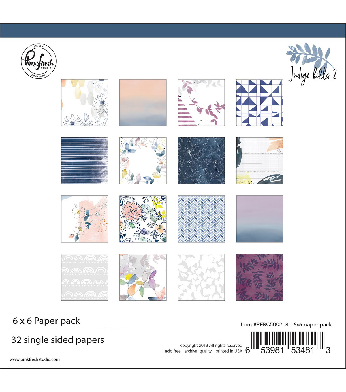 Pinkfresh Studio Single-Sided Paper Pack 6\u0022X6\u0022 32/Pkg-Indigo Hills 2