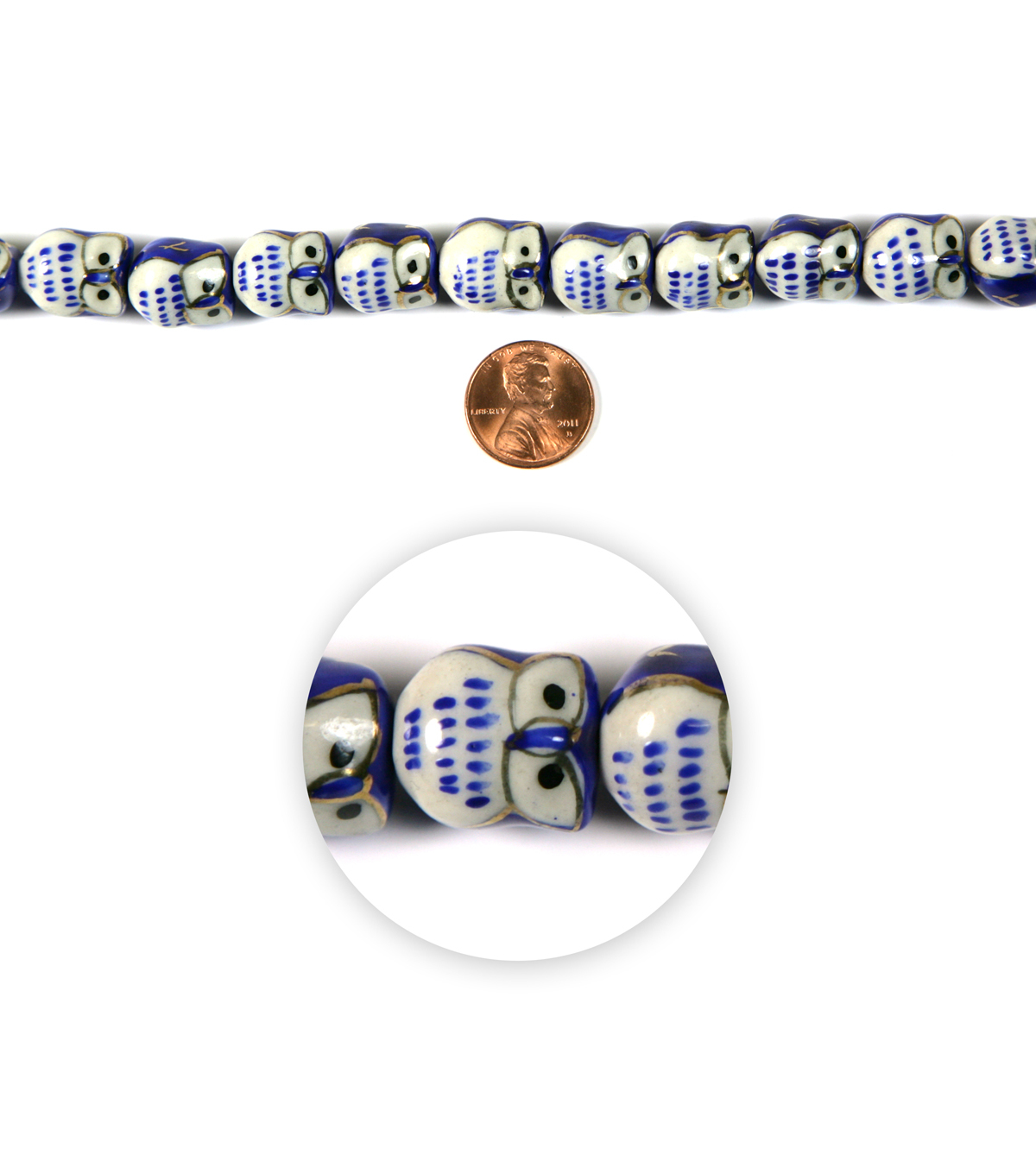 Blue Moon Strung Painted Ceramic Beads,Owl,Blue, White & Gold