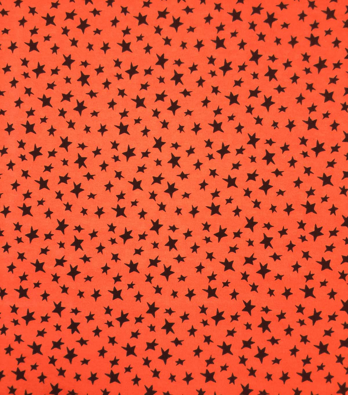 Halloween Doodles Cotton Interlock Fabric-Black Stars on Orange