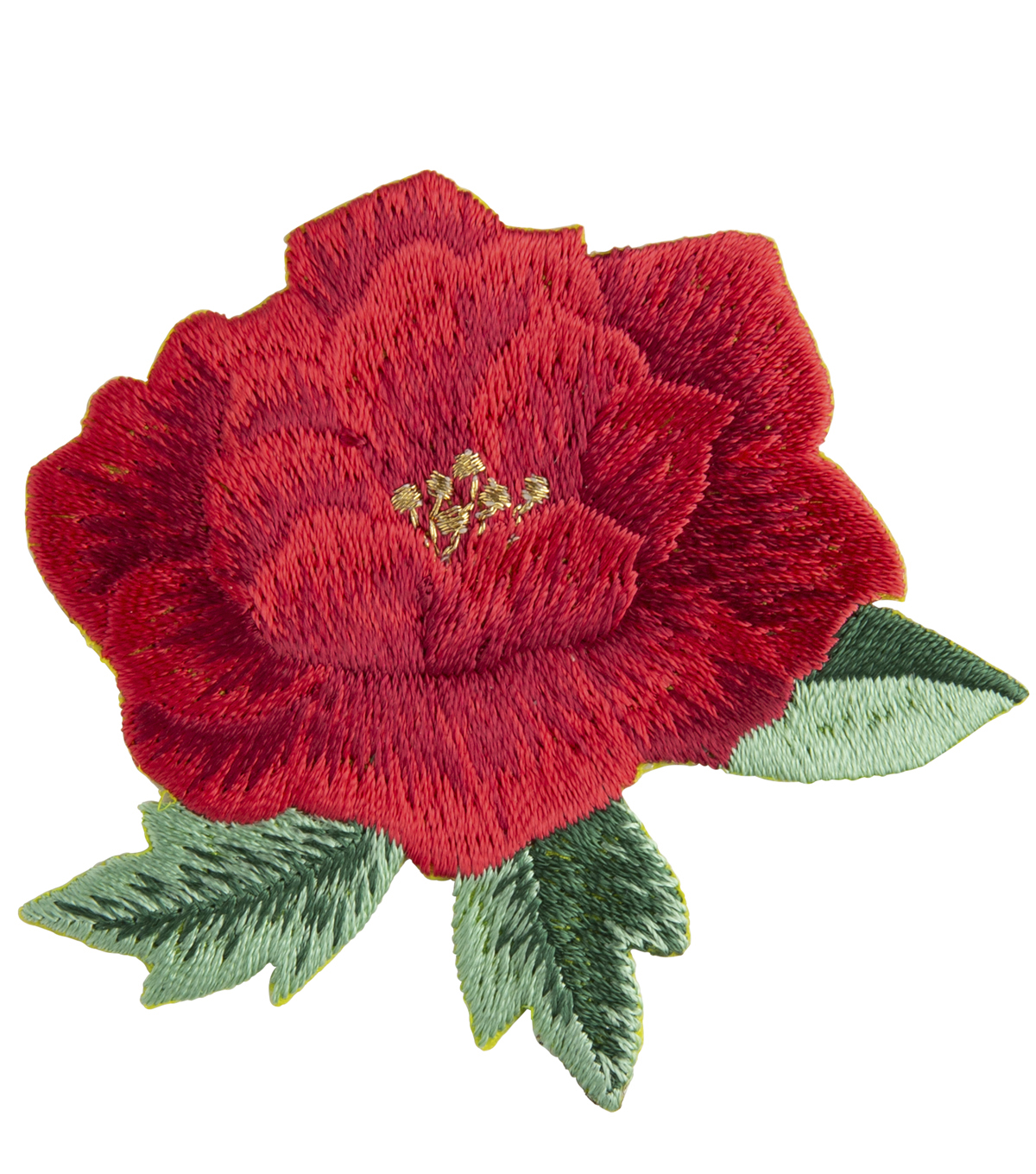 Simplicity Embroidered Rose Floral Iron-on Applique-Red