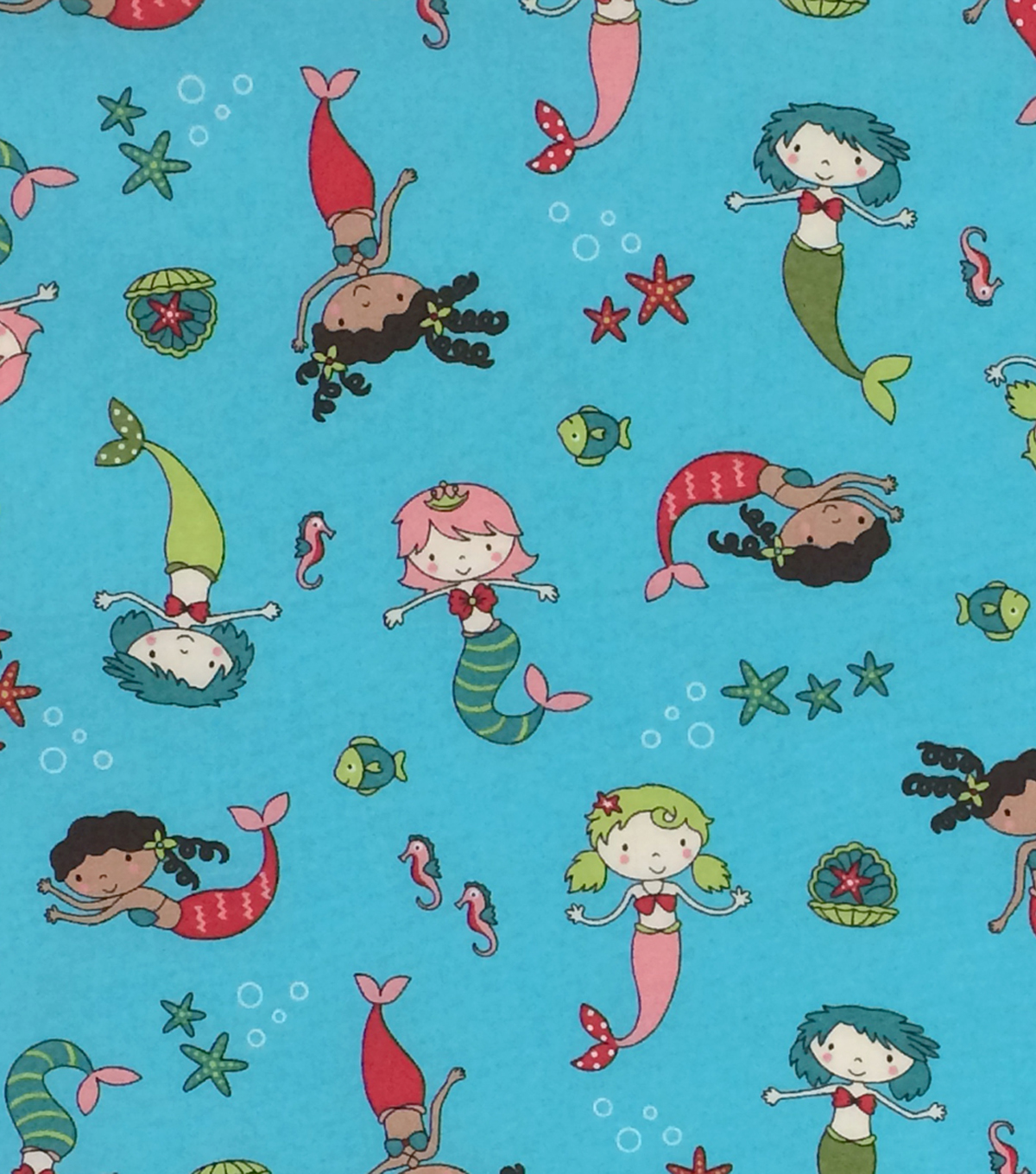 Novelty Cotton Fabric 44\u0022-Mermaids Blue
