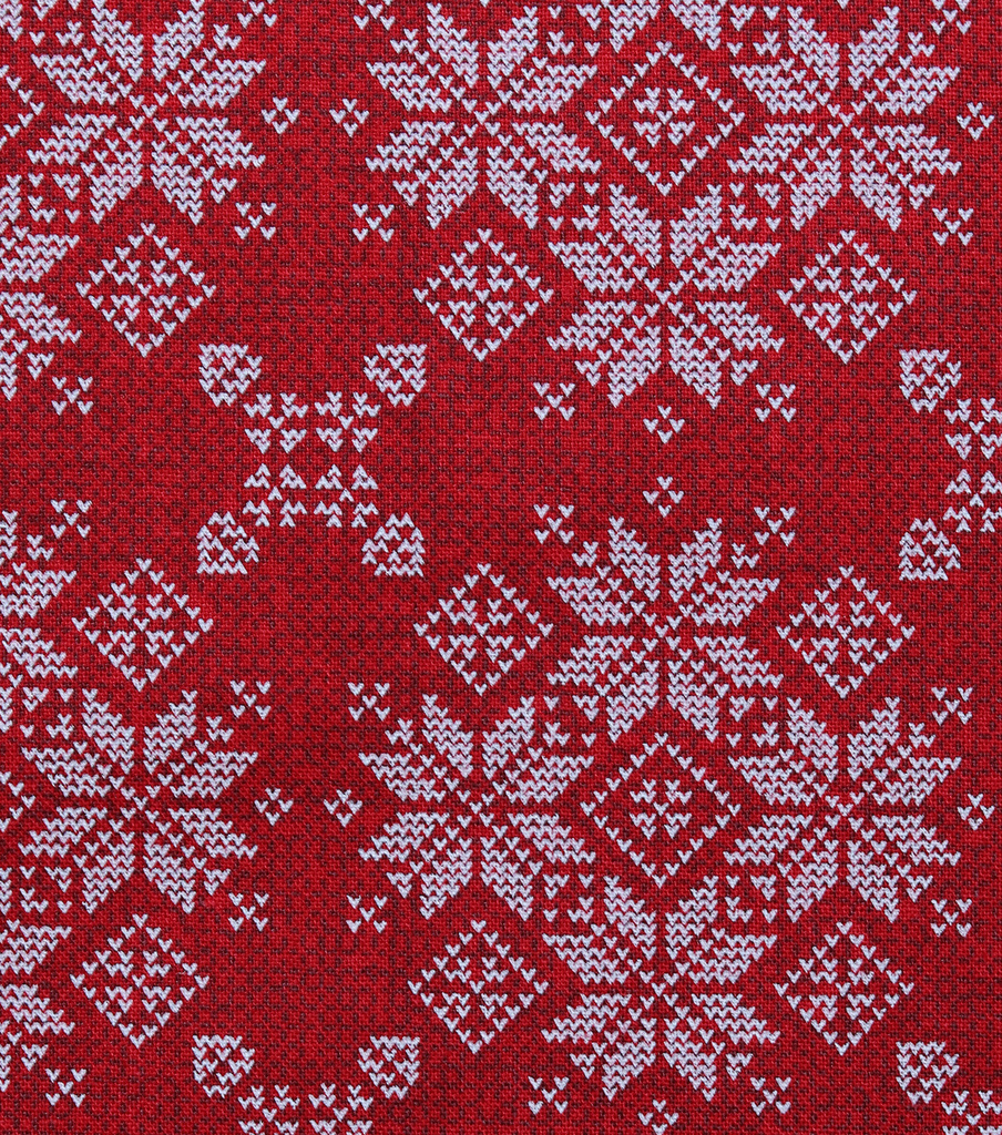 Christmas Cotton Fabric-Fair Isle Sweater on Red