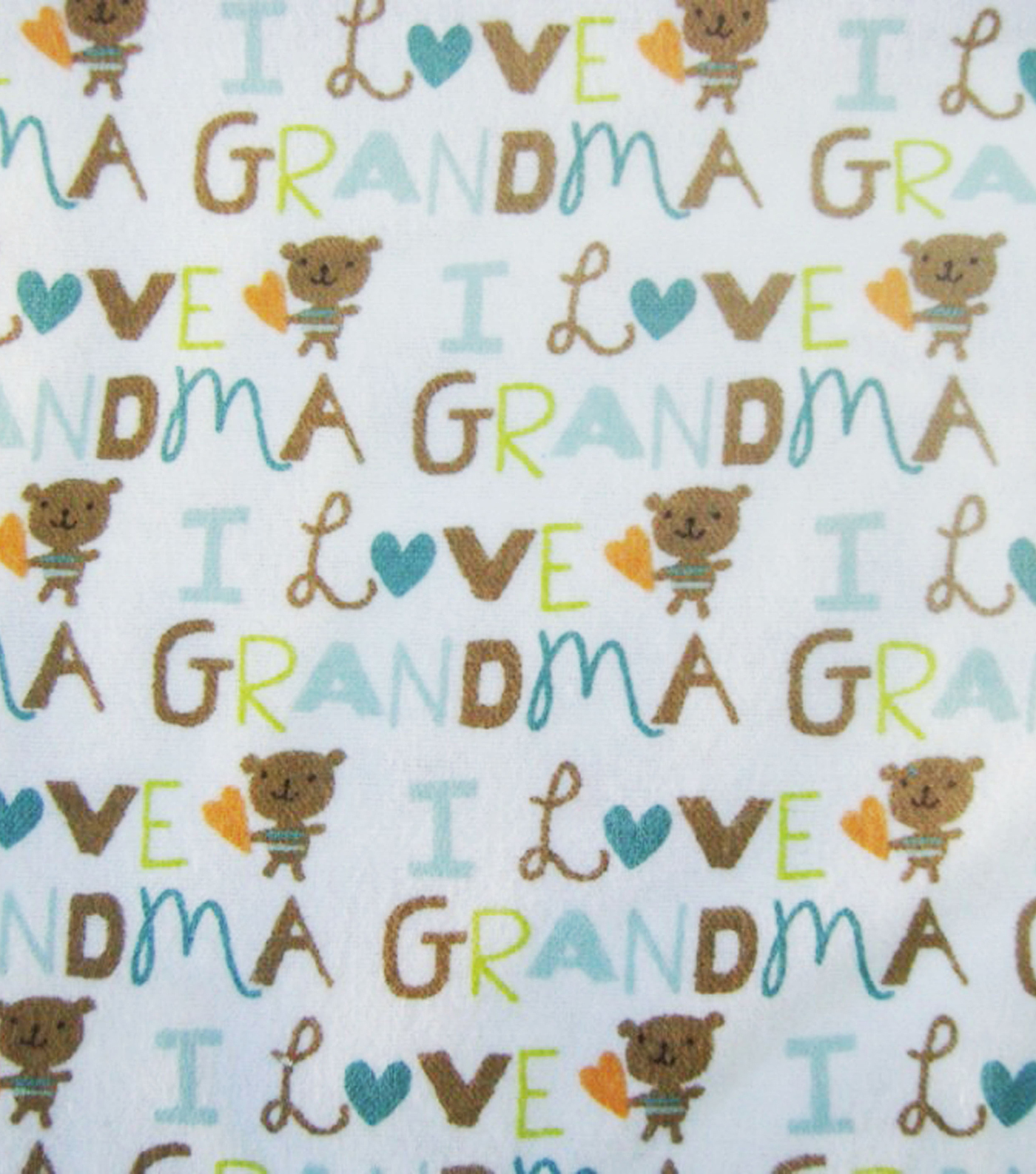 Snuggle Flannel Fabric -Blue I Love Grandma