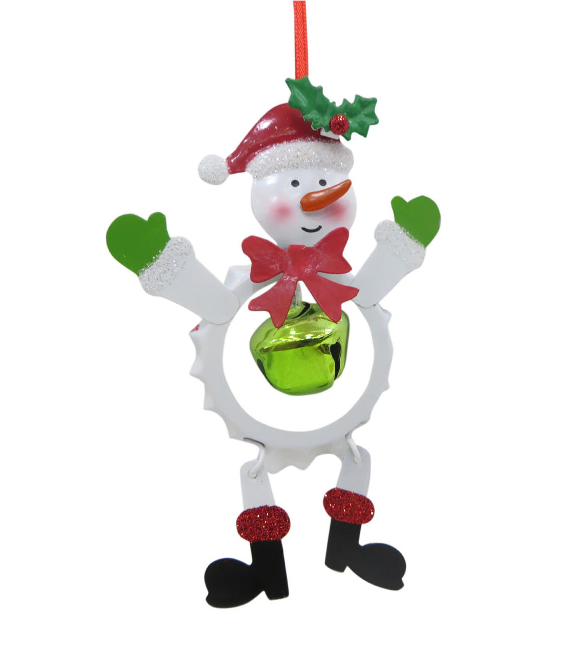 Maker\u0027s Holiday Whimsy Workshop Snowman with Green Jingle Bell Ornament