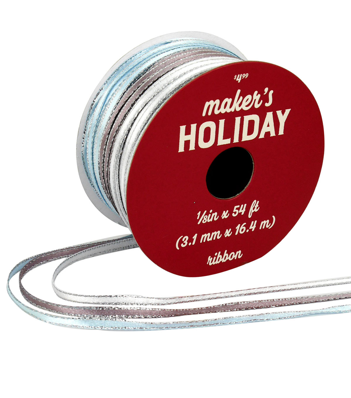Maker\u0027s Holiday Arctic Frost Ribbon 1/8\u0027\u0027x54\u0027-White, Pewter & Light Blue