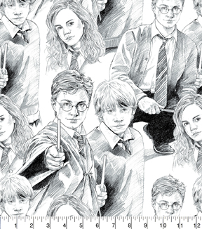 Harry Potter Cotton Fabric -Line Art