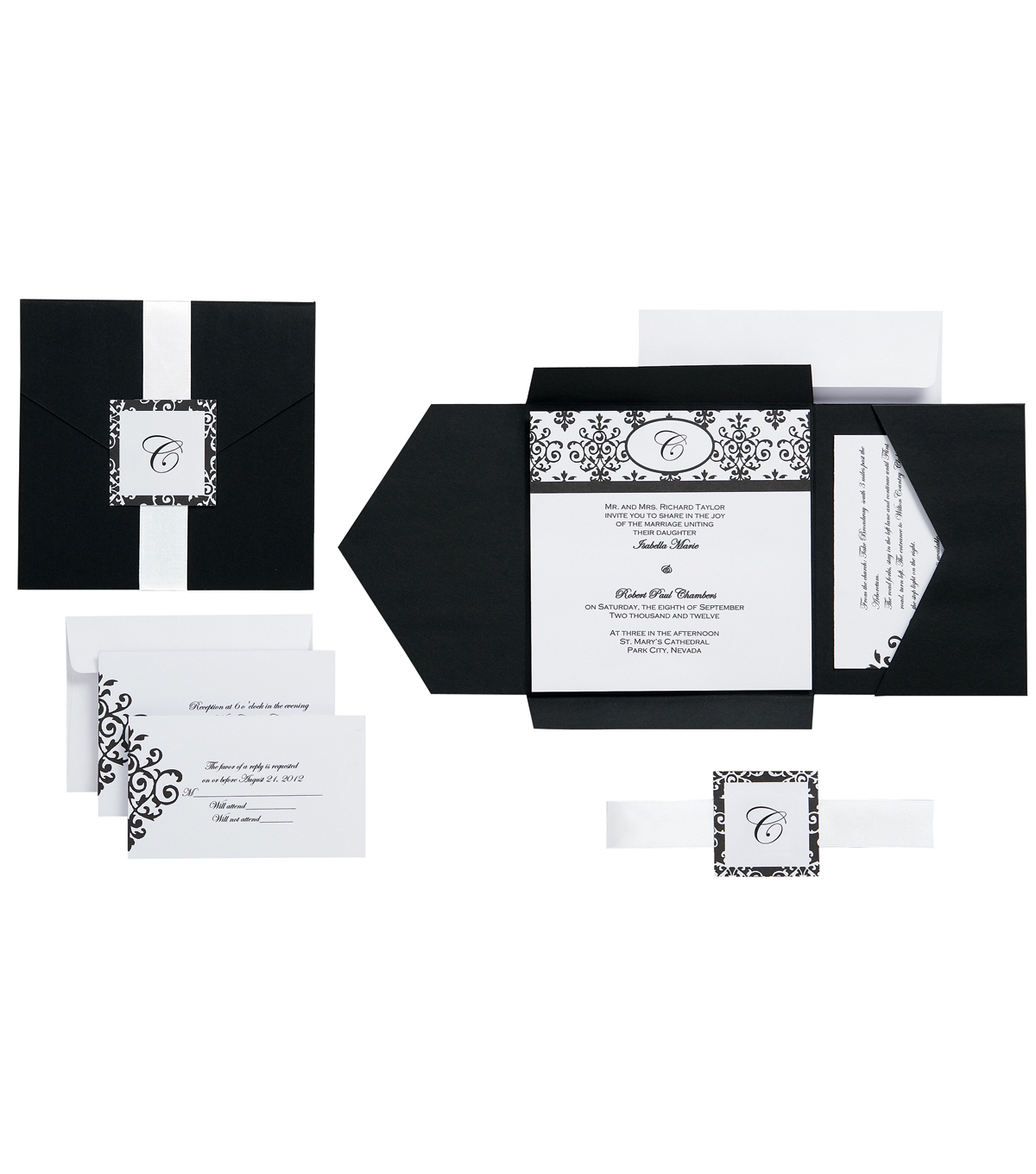 Wilton 25pk Scroll Monogram Invitation Kit Black White