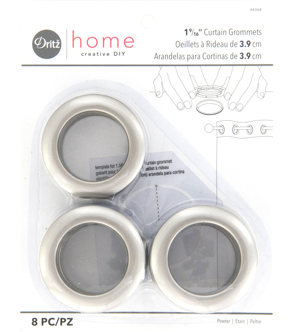 Dritz Home 1.56\u0027\u0027 Curtain Grommets 8pcs Brass, Pewter