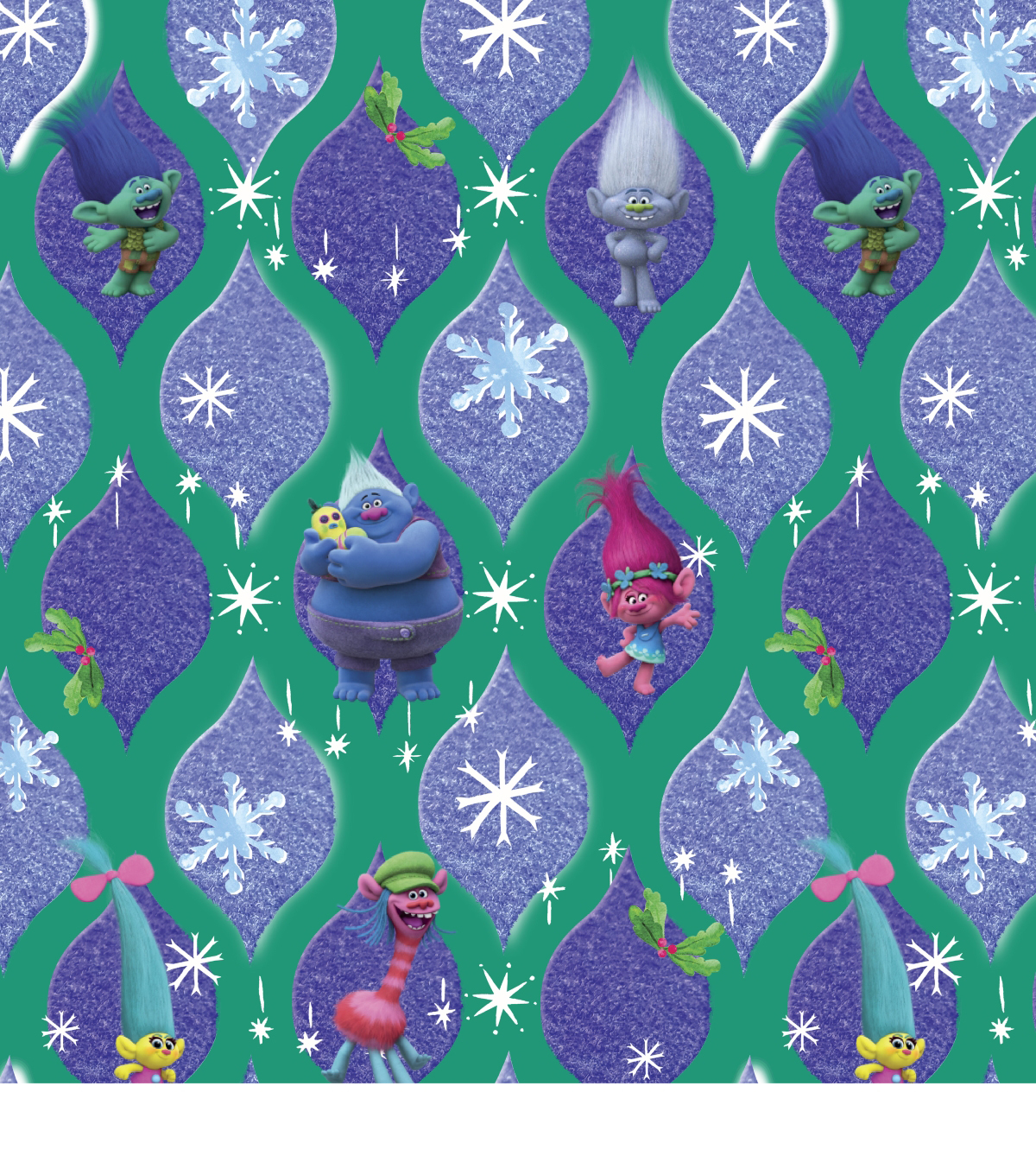 Trolls Christmas Fabric -Characters In Ornaments