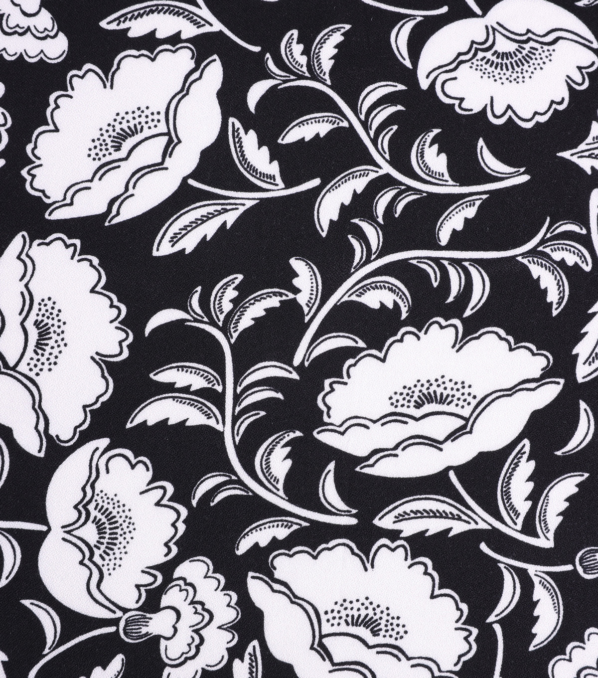 Silky Crepe Fabric-Ivory Folk Floral on Black