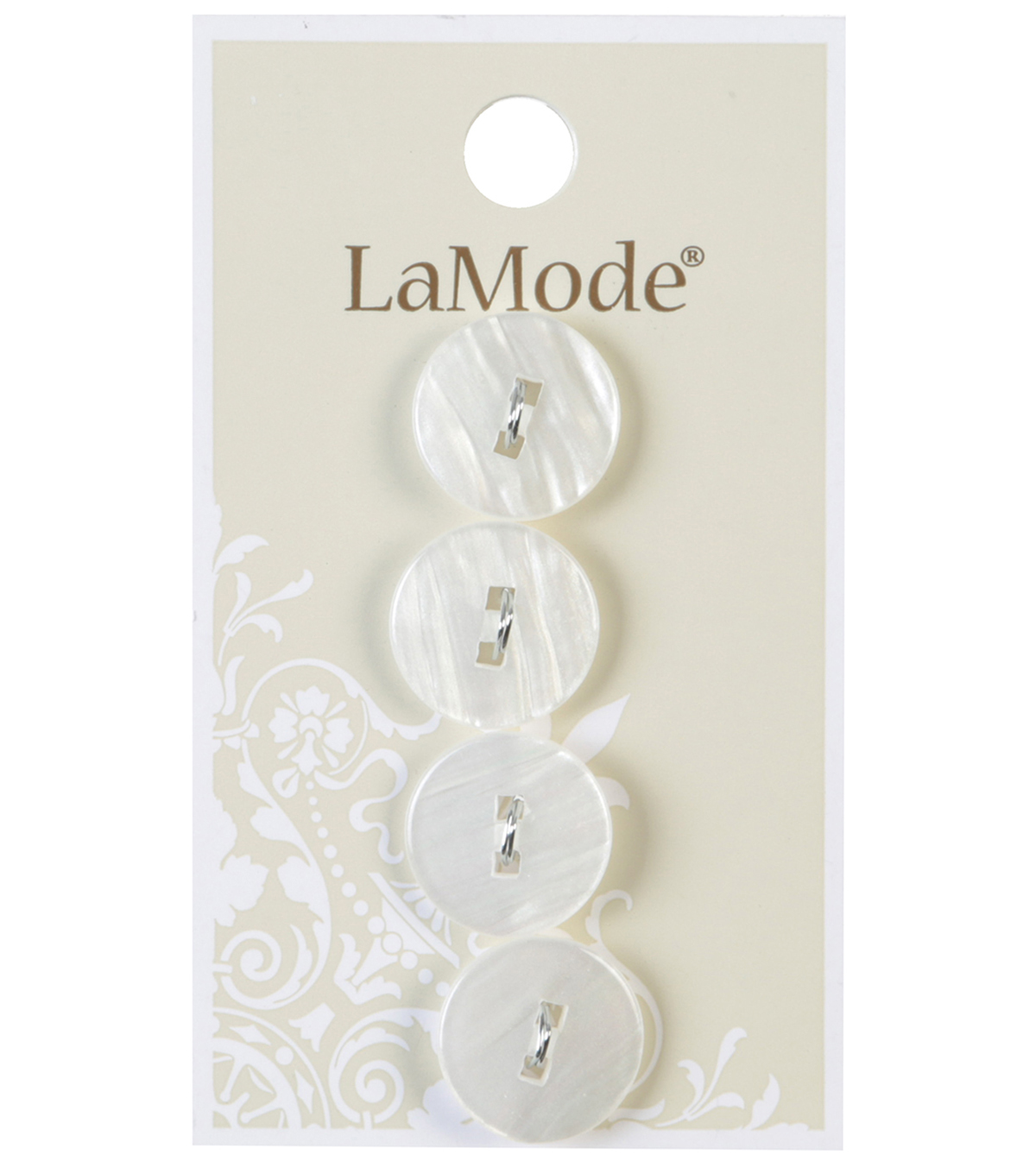 LaMode 2 Squared Hole White Buttons 16mm