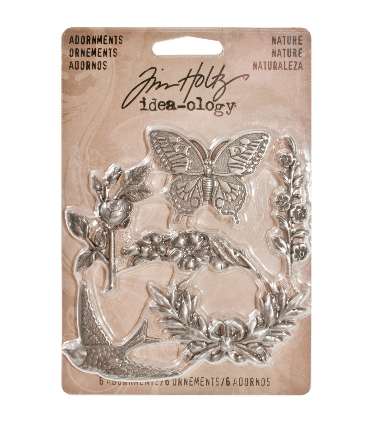 Tim Holtz Idea-Ology 1.125\u0022 6/Pkg Metal Nature Adornments-Antique Nickel