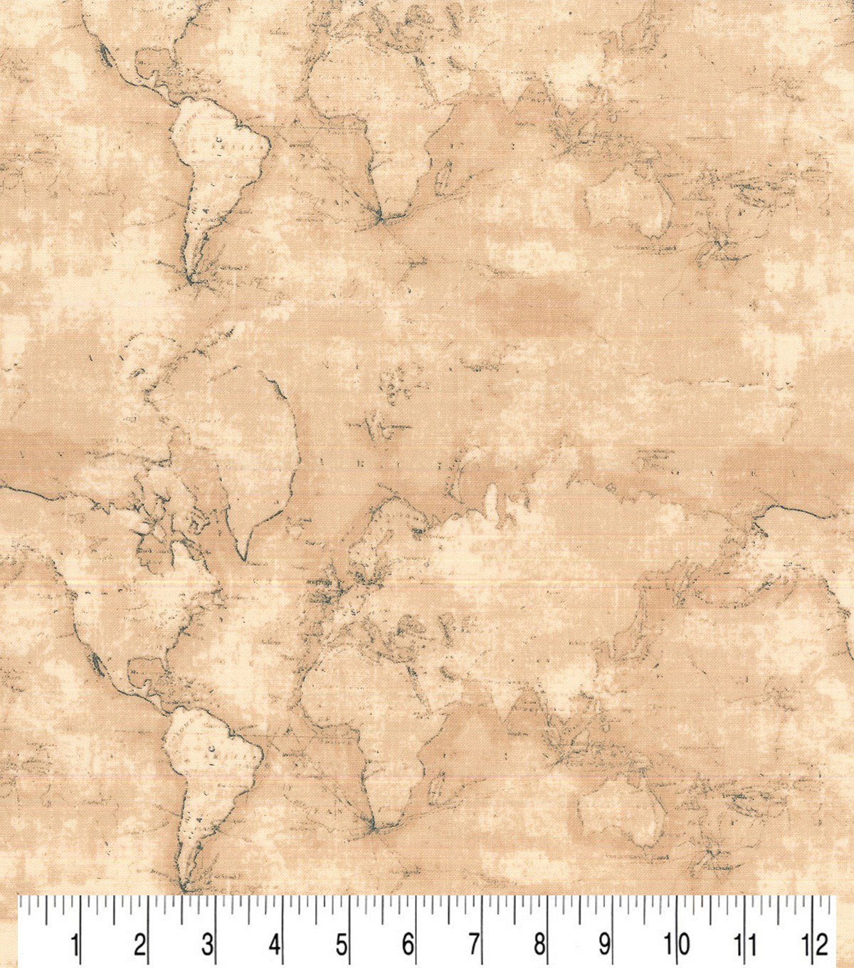 Novelty Cotton Fabric-Vintage World Map