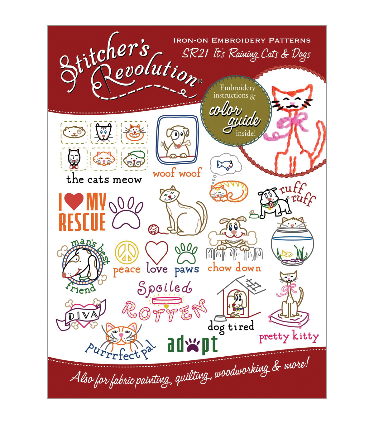Stitcher\u0027s Revolution Iron-On Transfers- Raining Cats and Dogs