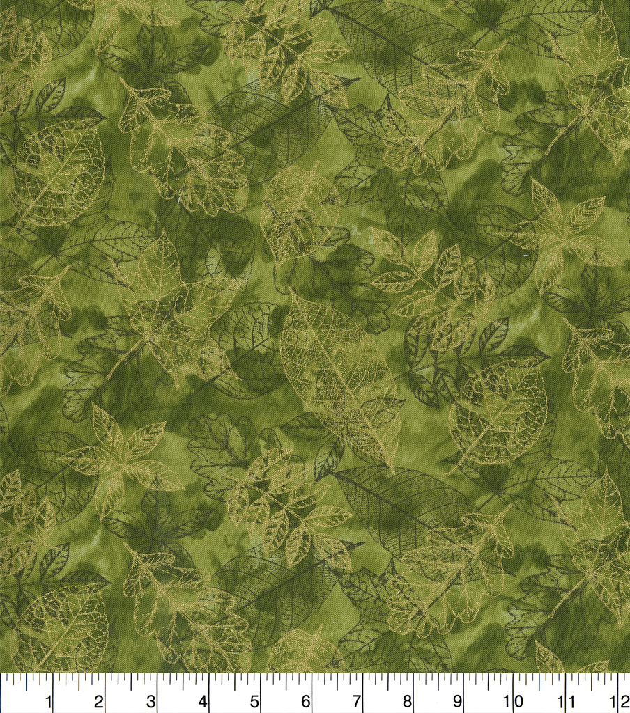 Harvest Cotton Fabric-Stamped Leaves on Green