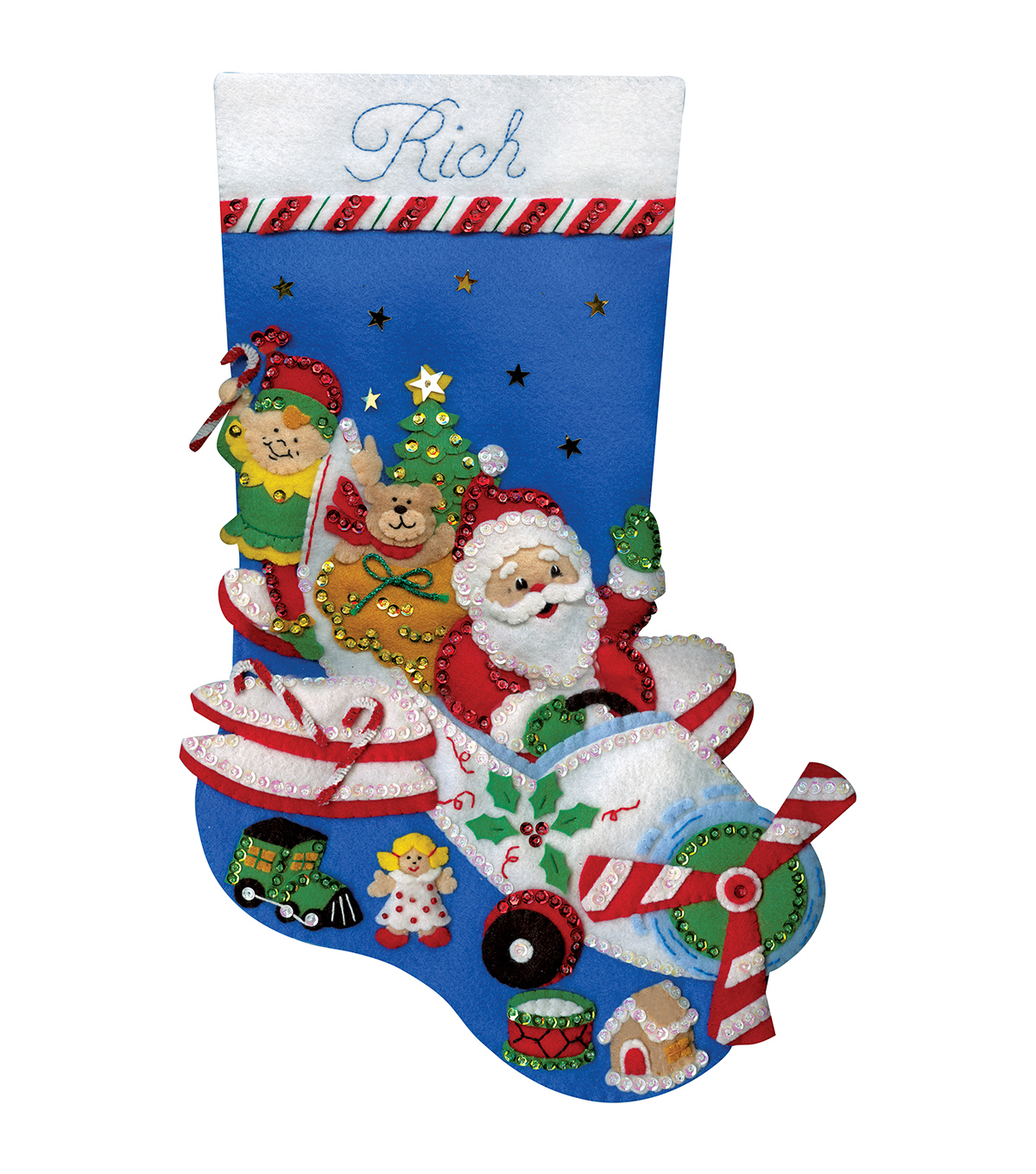Design Works Flying Santa Stocking Felt Applique Kit