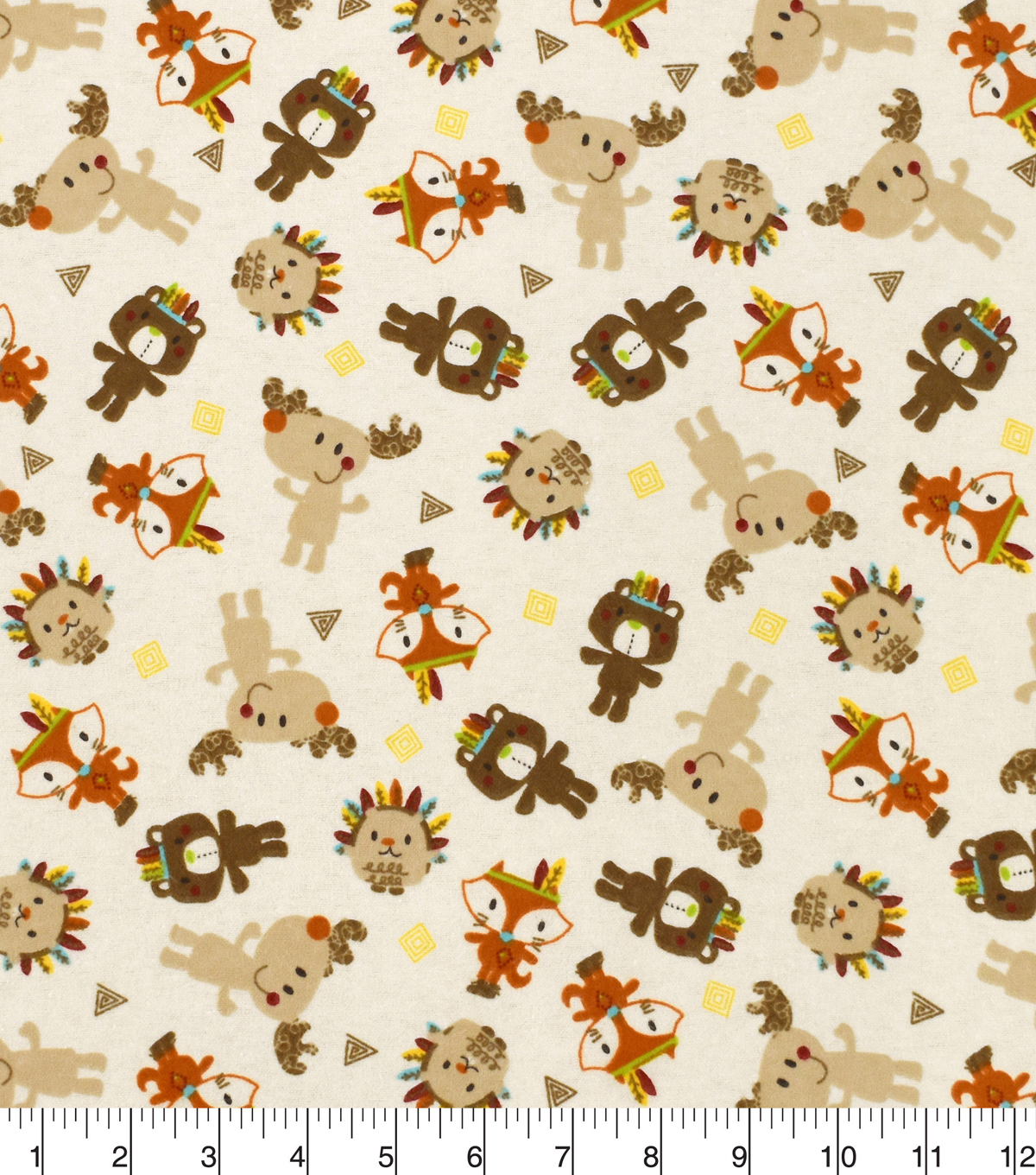 Snuggle Flannel Fabric 42\u0027\u0027-Tribal Animals on Neutral