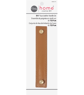 Dritz Home 5 1/2\u0022 Faux Leather Handle Set-Ocher Brown