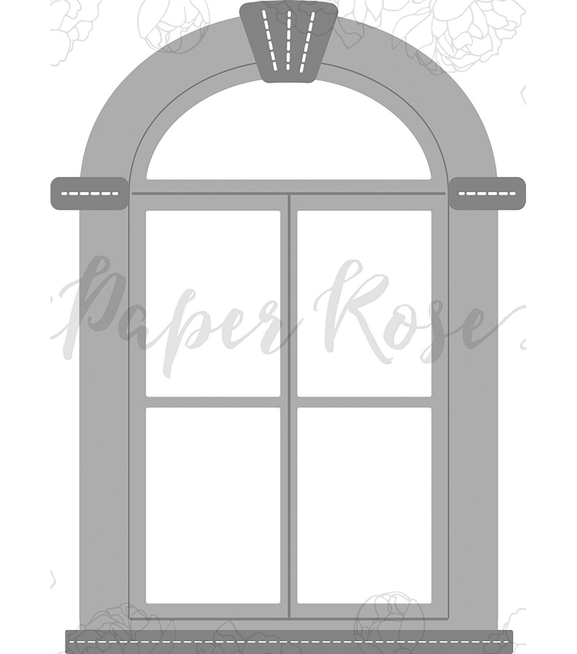 Paper Rose 4 pk Metal Dies-Tudor Arched Window