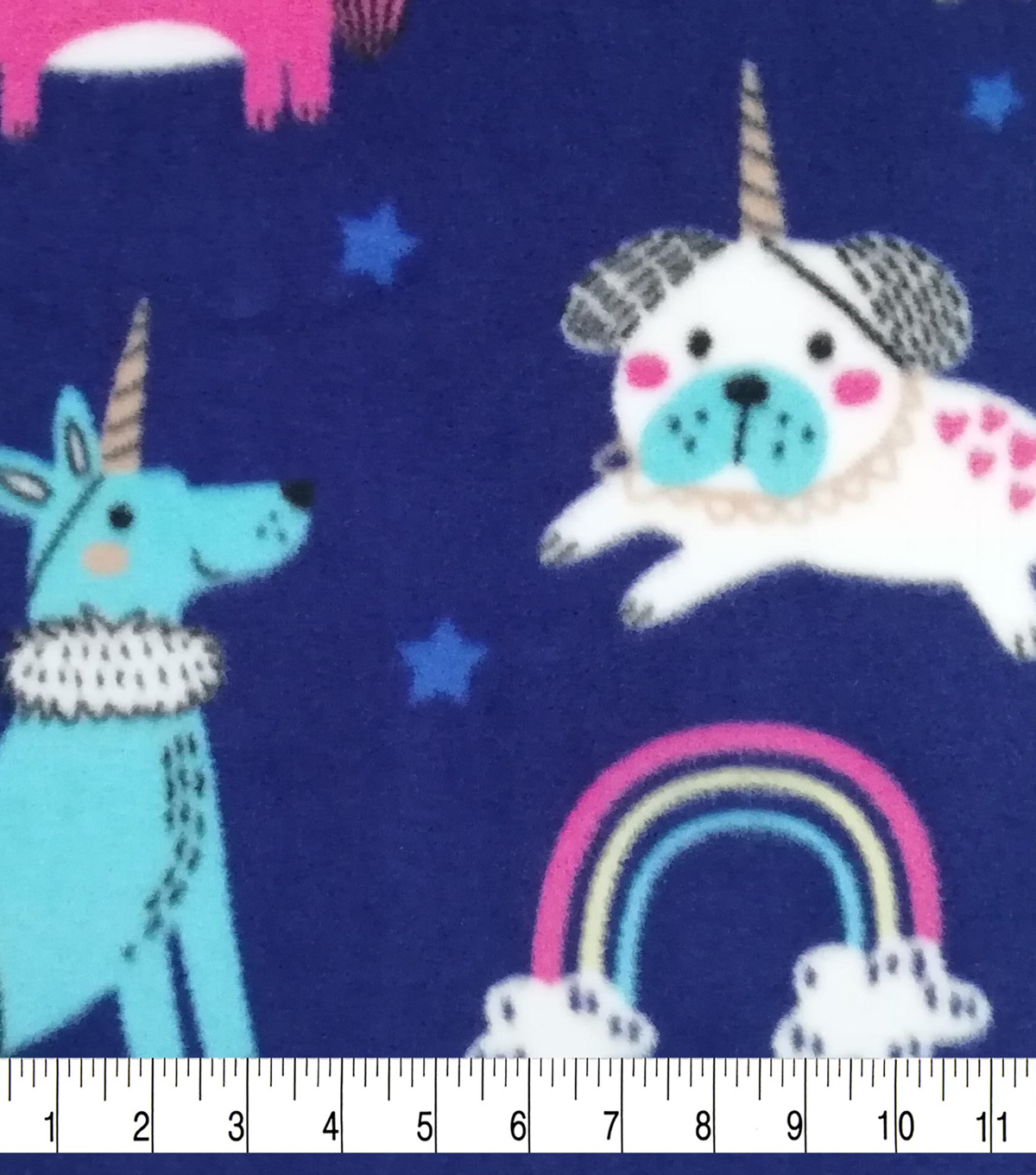 Anti-Pill Plush Fleece Fabric-Rainbow Dogicorns