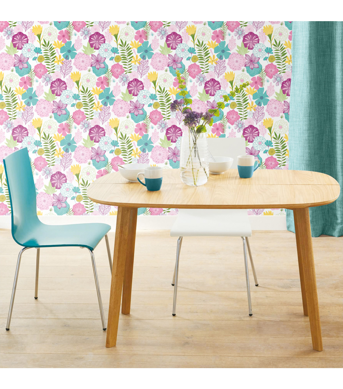 York Wallcoverings Wallpaper-Purple Perennial Blooms