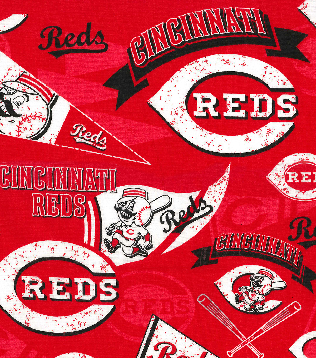 Cincinnati Reds Cotton Fabric Vintage Joann