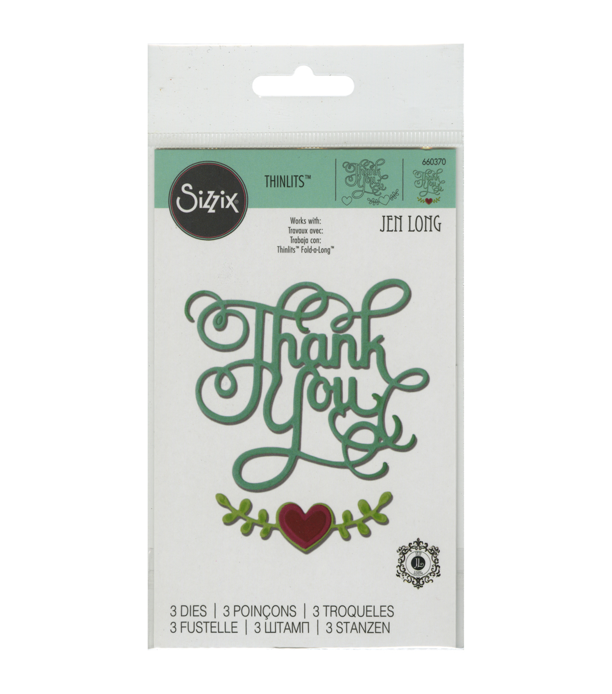 Sizzix Thinlits Thank You With Hearts Dies
