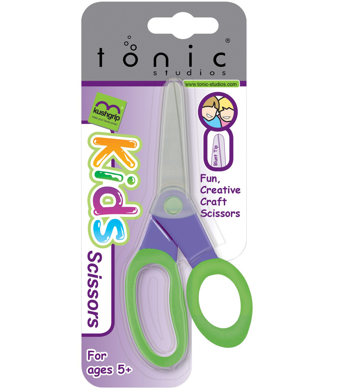 Tonic Studios 5\u0027\u0027 Kushgrip Kids\u0027 Blunt Tip Scissors-Purple & Green